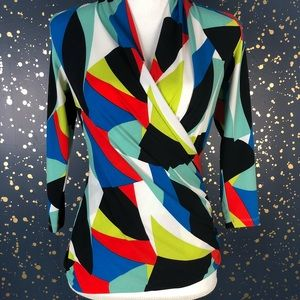 Vince Camuto Abstract Wrap Blouse Size XS